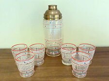 Vintage Mid Century Glass Brass Cocktail Martini Shaker w/ 6 Bar Drink Glasses