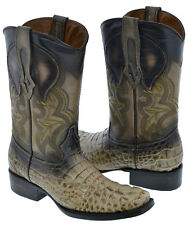 Mens Sand Square Toe Crocodile Alligator Skin Print Western Leather Cowboy Boots