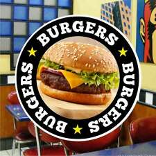Burgers Hamburger Catering Sign Window Cafe Restaurant Stickers Graphics Decal