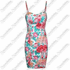 NEW WOMENS LADIES PINK FLORAL STRAP CUT OUT BACK DRESS PADDED BRA VEST DRESSES