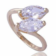 18K Gold Filled Womens clear crystal Leaf Lady Rings SZ 7 8 5.5 Fashion jewelry