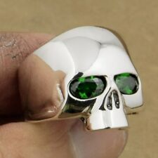 Green CZ Eyes 925 Sterling Silver Polished Skull Ring Mens Biker Style 9G503A