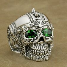 Green CZ Eyes 925 Sterling Silver Gothic Tattoo Skull Ring Biker Style 9G505A