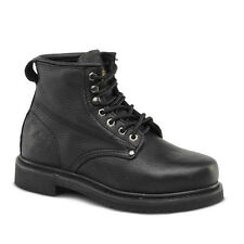 "Mens Black 6"" Plain Toe Leather Work Steel Toe Boots BONANZA 615 Size 6-12 (D,M)"