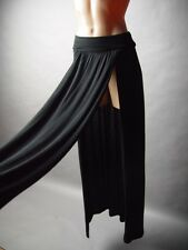 Black Foldover Waist Band Double High Slit Split Women Classic Long Maxi Skirt M