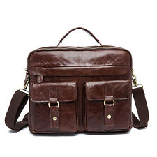 "Briefcase Attache Shoulder Messenger Bag Laptop Bag 14"" Genuine Leather Business"