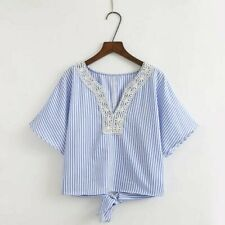 New Womens Ladies Striped Print Lace Mix Collar Short Sleeve Blouse Tops Shirt