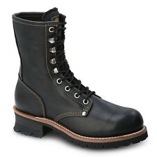 "Mens Black 9"" Logger Oiled Leather Steel Toe Work Boots BAT-901 Size 5-12 (D, M)"