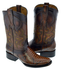 Mens Cognac Brown Python Snake Skin Print Western Leather Cowboy Boots Square