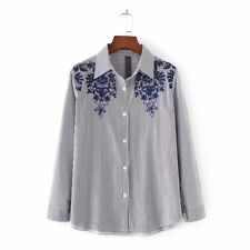 New Womens Sunflower Floral Embroidered Long Sleeve Button Down Shirt Blouse Top