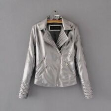 New Womens Ladies 5 Bright Colors Faux Leather Motorcycle Biker Coat Jacket