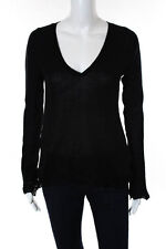 Elie Tahari Black Cotton V Neck Long Sleeve Knit Top Size Small