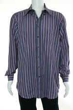 Etro Mens Pink Blue Brown Cotton Long Sleeve Button Down Shirt Size 44