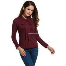 Women's Casual Tie-Bow Neck Long Sleeve Slim Solid Blouse Tops N98B01