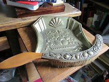 Vintage Edwardian Brass and wood table crumb tray, Pan and brush.