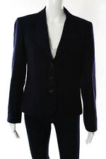 Christian Dior Blue Wool Long Sleeve Button Front Blazer Size 8