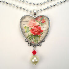 Pink & Red Rose Heart Necklace Love Graphic Art Jewelry Handmade Vintage Charm