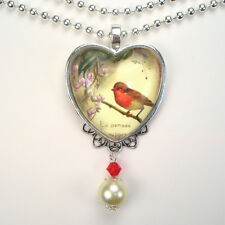 Red Robin Bird Necklace Heart Pendant Graphic Art Jewelry Vintage Charm