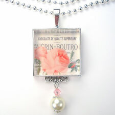 FRENCH PINK ROSE FLOWER 'VINTAGE CHARM' SILVER OR BRONZE ART PENDANT NECKLACE