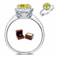 925 Sterling Silver Engagement Ring Vintage Halo 2 Ct Yellow Canary Lab Diamond