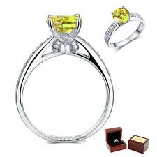 925 Sterling Silver Engagement Ring 2 Ct Yellow Canary Lab Created Diamond
