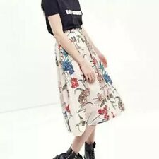 New Womens Ladies Floral Print Elastic Waist Pleated A-Line Midi Skirt