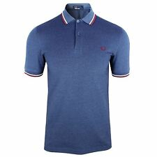 FRED PERRY POLO SHIRT MENS LAKE CARBON TWIN TIPPED TOP