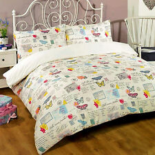 French Shabby Chic Duvet Cover Butterfly Post Card Multi Coloured Cream Bedding