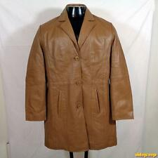 EXCELLED Soft Lambskin LEATHER Blazer Jacket Coat Womens Size L Tan Brown