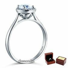 Sterling 925 Silver Bridal Wedding Promise Ring Floral 1 Ct  Man Made Diamond