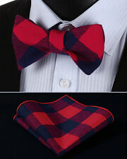 BMC401R Red Blue Check Men Cotton Self Bow Tie Pocket Square set
