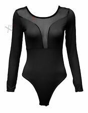 NEW WOMENS SHEER MESH FRONT BODYSUIT BLACK LEOTARD LADIES LONG SLEEVE BODY TOP