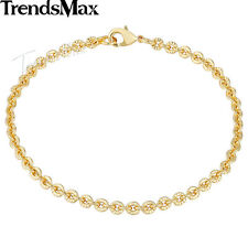 3mm Ladies Girls Yellow Gold Plated Cut Rolo Round Chain 7-9inch Bracelet Bangle