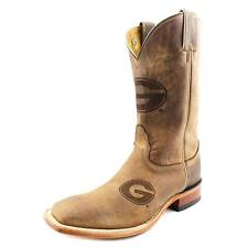 Nocona Georgia Brown Cowhide Branded Men 2E Square Toe Leather  Western Boot