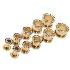 1 Pair Gold Stainless Steel Screw Ear Gauges Tunnels Plugs Stretchers Expander