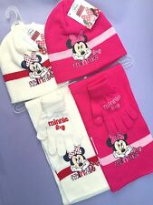 MINNIE MOUSE HAT GLOVE & SCARF SET girls winter warm disney childrens character