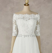 Lace White Ivory Wedding Jackets Off Shoulder Custom Half Sleeve Bridal Boleros