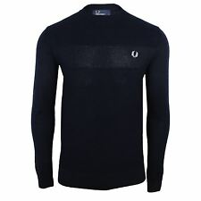FRED PERRY JUMPER TEXTURE MENS NAVY CREW NECK KNIT