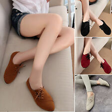 Womens Slip On Brogues Office Party Walking Lace Up Loafers Casual Flats Shoes