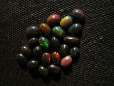 10 Cts Natural Fire Play Welo Ethiopian Black Opal Loose Gemstone Cabochon BOC2