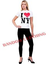 Womens I Love NY T-Shirt New York Heart Print Short Sleeve Casual Fitted Top S