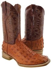 Mens Cognac Brown Alligator Crocodile Back Western Cowboy Leather Boots Square