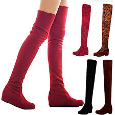 womens faux Suede wedges heel Vintage Shoes flat Over The Knee Boots Plus size