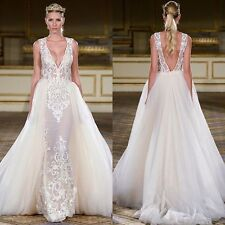 2017 Luxury Embroidery Lace Wedding Dresses White Bridal Gowns Detachable Train