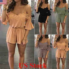 Women Summer Off-shoulder Lace Bell Sleeves Jumpsuits Rompers Short Pant Sleeve
