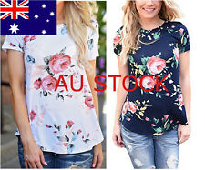 Womens Floral Flower Printed Tee Tops Blouses Short Sleeves Loose Casual T-shirt