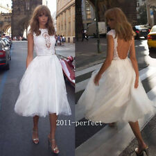 Shiny Beaded Lace Top Wedding Dresses Short A line Bridal Gowns Backless Custom