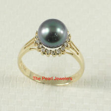 TPJ 14k Solid Yellow Gold 8-8.5mm Peacock Cultured Pearl; Diamonds Cocktail Ring