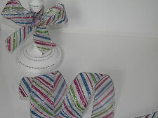 PASTEL STRIPES Christmas Glittery on sheer Organza - Luxury Wire Edged Ribbon