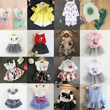 2pcs Toddler Kids Baby Girls T-shirt Tops+Shorts Pants Skirt Outfits Clothes Set